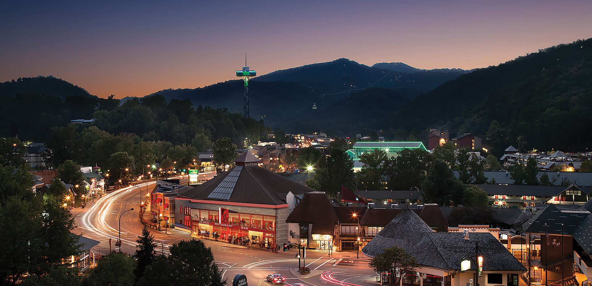 Gatlinburg Evening Cityscape | Gatlinburg Attractions | Things To Do In Gatlinburg, TN